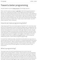 Toward a better programming