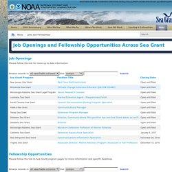 Sea Grant > News > Jobs and Fellowships