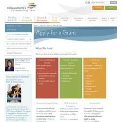 Apply for Texas Grants - Communities Foundation of Texas
