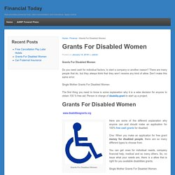 Grants For Disabled Women