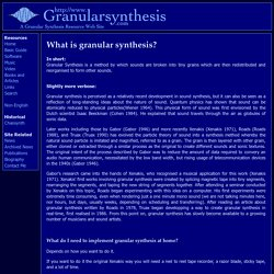 Granular Synthesis: Guide