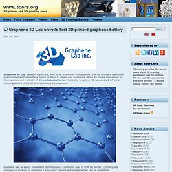 Graphene 3D Lab unveils first 3D-printed graphene battery
