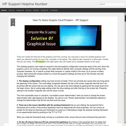 How To Solve Graphic Card Problem - HP Support