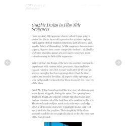 Graphic Design in Film Title Sequences