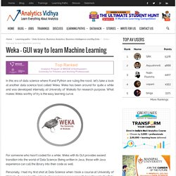 Weka – Graphical User Interference Way To Learn Machine Learning