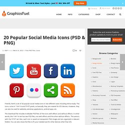 Premium & Free Graphic & Web Design Resources! – 20 Popular Social Media Icons (PSD & PNG)