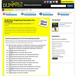 TI-83 Plus Graphing Calculator For Dummies Cheat Sheet