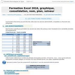 Excel 2016 : LES FONCTIONS FINANCIÈRES