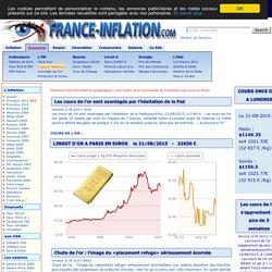 GRAPHIQUE COURS DE L'OR, LINGOT et NAPOLEON, historique depuis 1999 et actuel à Aug-2011