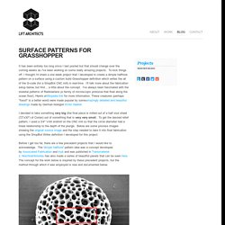 Surface Patterns With The ShopBot Writer for Grasshopper - LIFT architects - Home