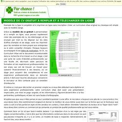 Modèle de CV gratuit à remplir et à télécharger en ligne - Parchance.fr