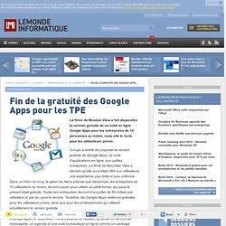 Fin de la gratuité des Google Apps pour les TPE