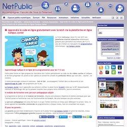 Apprendre le code en ligne gratuitement avec Scratch via la plateforme en ligne Campus Junior