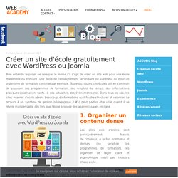 Créer un site d'école gratuitement avec WordPress ou Joomla