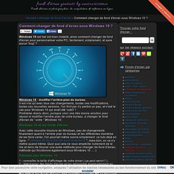 Comment changer de fond d'écran sous Windows 10 ? - changer de fond d'écran - fonds d'écran gratuits by unesourisetmoi