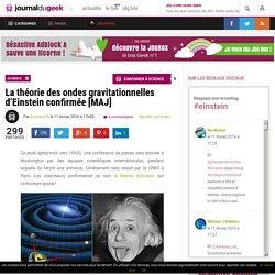 La théorie des ondes gravitationnelles d'Einstein confirmée [MAJ]