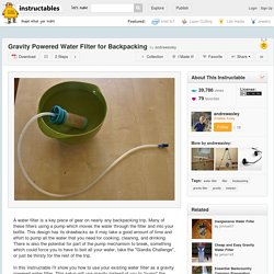 Gravity Powered Water Filter for Backpacking