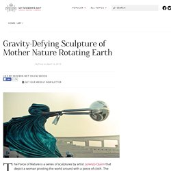 Gravity-Defying Sculpture of Mother Nature Rotating Earth