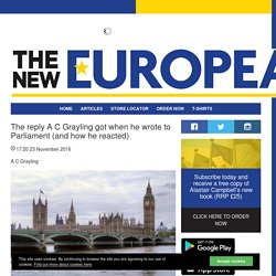 The reply A C Grayling got when he wrote to Parliament (and how he reacted) - Articles - The New European