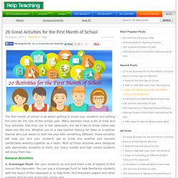 20 Great Activities for the First Month of School