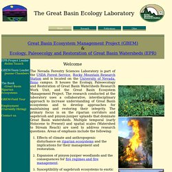 The Great Basin Ecology Laboratory USDA-FS-RMRS