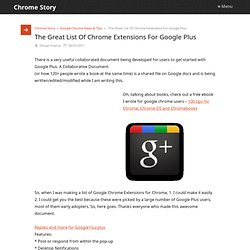 The Great List Of Chrome Extensions For Google Plus