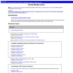 Great Books Lists: Lists of Classics, Eastern and Western