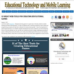 Educational Technology and Mobile Learning: 12 Great Web Tools for Creating Educational Games