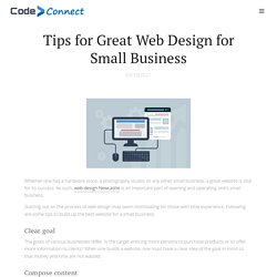 Tips for Great Web Design for Small Business