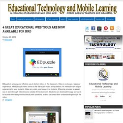 4 Great Educational Web Tools Are Now Available for iPad