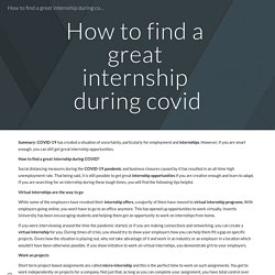 How to find a great internship during covid