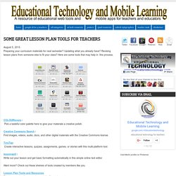 Some Great Lesson Plan Tools for Teachers