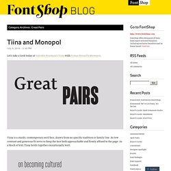 Great Pairs « FontShop Blog