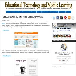 Educational Technology and Mobile Learning: 7 Great Places to Find Free Literary Works