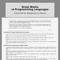 Great Works in Programming Languages