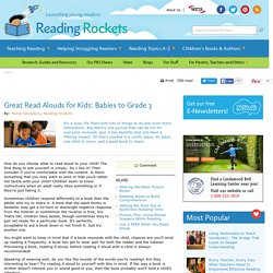 Reading Rockets: Great Read Alouds for Kids: Babies to Grade 3