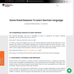 Some Great Reasons To Learn German Language