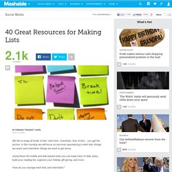 40 Great Resources for Making Lists