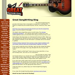 Great SongWriting Blog