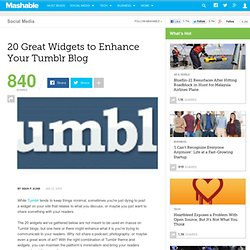 20 Great Widgets to Enhance Your Tumblr Blog