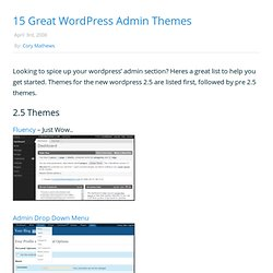 » 15 Great Wordpress Admin Themes