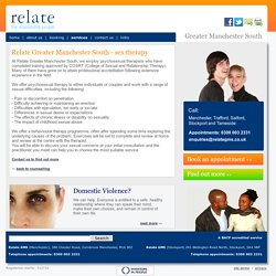 Relate Greater Manchester South - sex therapy