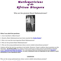 Who are the greatest Black Mathematicians?