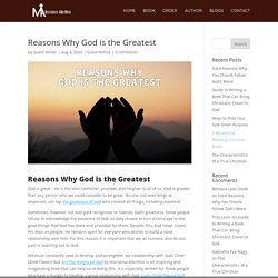 Reasons Why God is the Greatest - Marianna Albritton