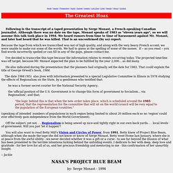 The Greatest Hoax | Serge Monast - Project Blue Beam transcript