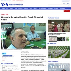 Greeks in America React to Greek Financial Crisis