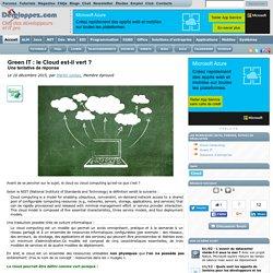 Green IT : le Cloud est-il vert ? Une tentative de réponse