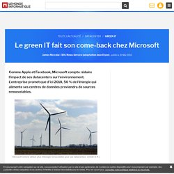 Le green IT fait son come-back chez Microsoft