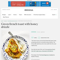Green french toast with honey drizzle
