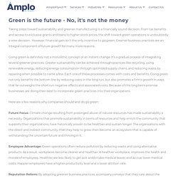 Green is the future - No, it's not the money - Amplo Global Inc.